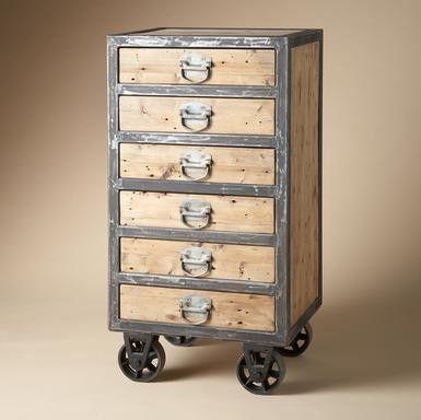 """A normal dresser transformed into an """"industrial"""" dresser. Maybe as a craft/scrapbook cart!!!"""
