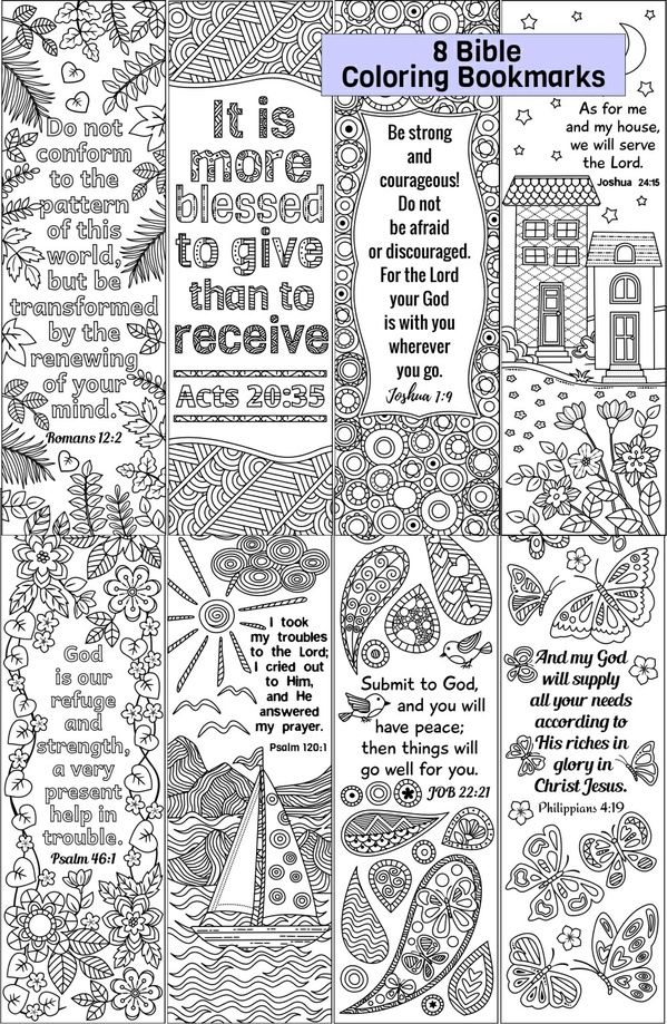 Twenty Adult Coloring Pages Bible Journaling Bookmarks