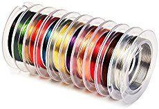 outus 10piezas 0,3mm Bare Alambre de Cobre Joyería Beading Wire, Mixed Colors