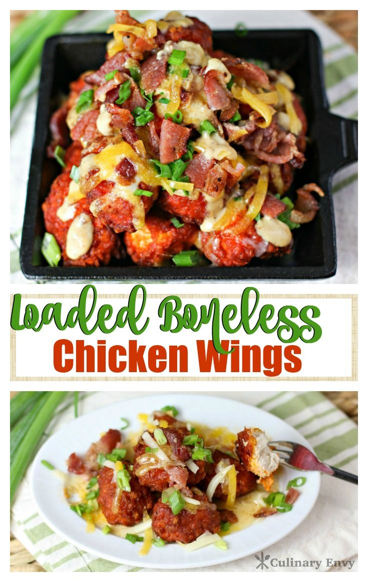 My Most Requested Appetizer! Loaded Boneless Chicken Wings - where potato skin toppings meet buffalo chicken wings! Click to read more or Pin & save for later!