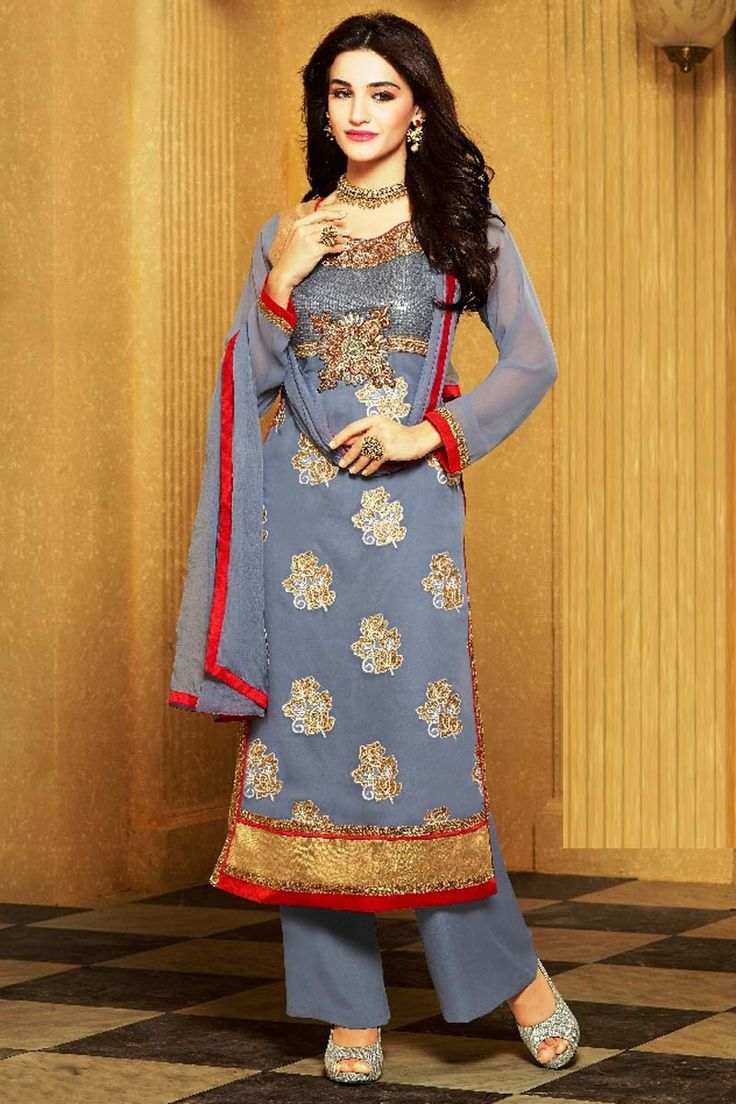 Grey Georgette Party Wear Salwar Kameez