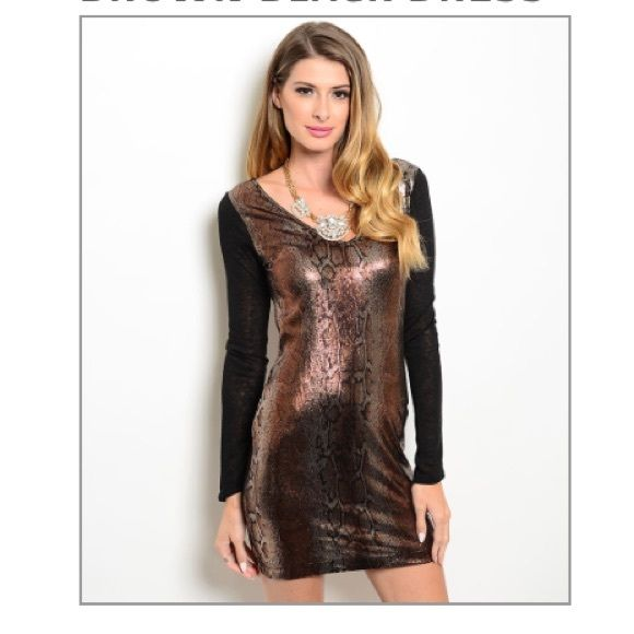 🎀Clearance HP Black and Brown BodyCon Dress Made in the USA! Sheer fabric. 100% polyester. Perfect dress for a night out on the town Dresses