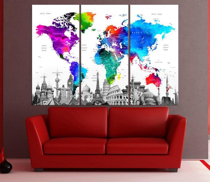Pared extra grande arte push pin mundo mapa pared lona de