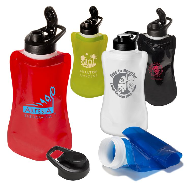 PL-3877 Wide-Mouth Flip-Top Flexi Bottle. BPA-free PE plastic bottle holds 32 oz. Collapsible and foldable for easy storage. Features wide mouth with screw-on cap with flip-top drink-through spout. Dishwasher and freezer safe.
