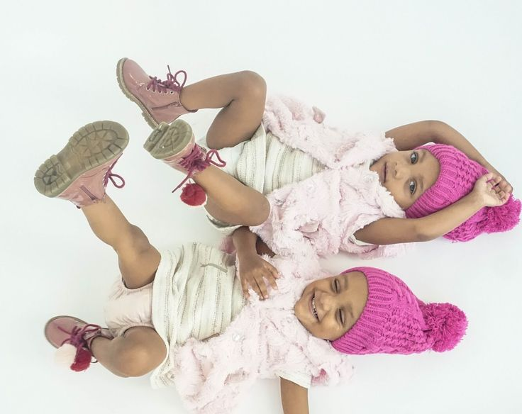 Twin sisters excited for winter with the cutest Zara Pom Pom boots