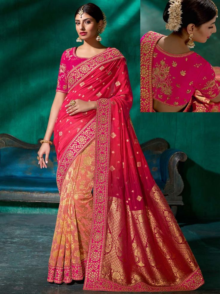 Spectacular dark pink and dark peach pure viscose worked patch border is enhancing its charm. Get ravishing look with this chic and classy outfit.