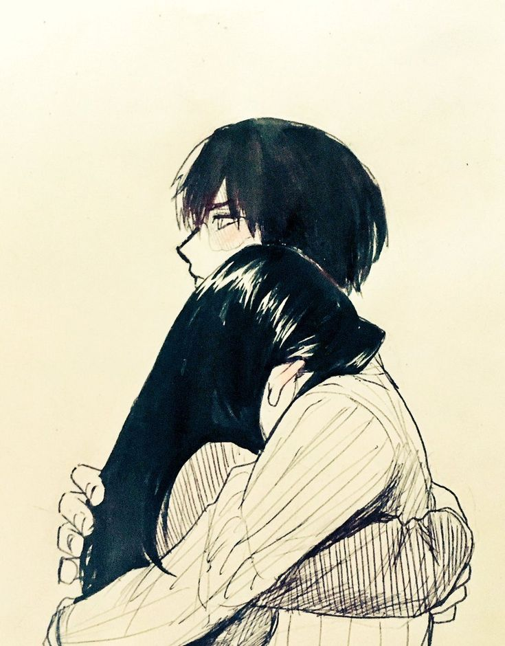 Аниме картинка обнимающаяся пара