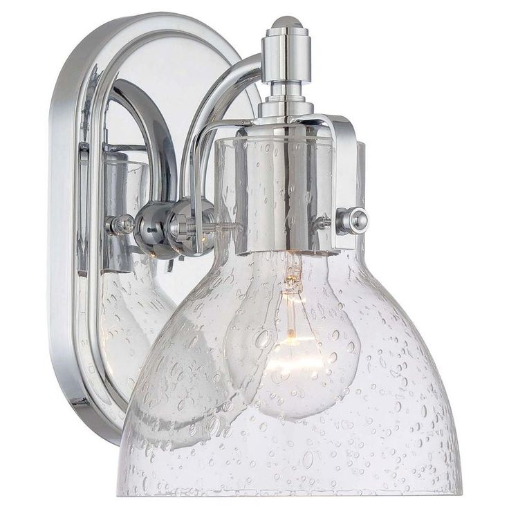 Minka Lavery 1-Light Chrome Bathroom Sconce with Clear Seeded Shade-5721-77 - The Home Depot