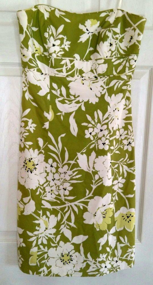 NWOT Anne Taylor LOFT Olive Green Floral Strapless Dress Sz 6 #AnnTaylorLOFT