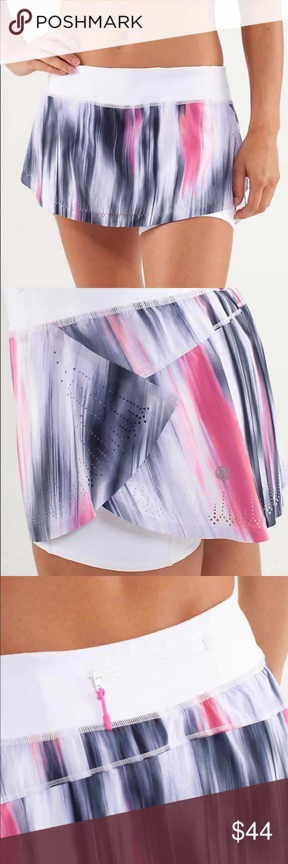 Lululemon Light As Air Skirt Mirage Indigo/ White Size 6 Lululemon Run: Light As Air Skirt in Mirage Deep Indigo/ White. Luxtreme/Swift. Like-New Condition.   All items come from a smoke free home and are shipped on the same or following day an order is placed.   Items are shipped in polymailers placed INSIDE boxes to ensure all purchases are completely protected from damage or weather conditions. lululemon athletica Shorts Skorts