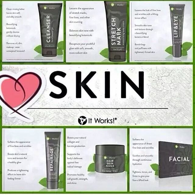 #Embrace the SKIN collection from IT WORKS GLOBAL! (1.) FACIAL (3.) TONER (5.) LIP & EYE (6.) PREVENTAGE (2.) CLEANSER (4.) STRETCH MARK (7.) HAIR SKIN NAILS (8.) REPAIRAGE Weather your tying to grown your hair back, thick or long, remove under eye bags,