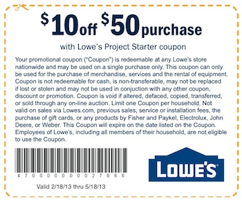 HOT Lowes Coupon: $10 off a $50 Purchase! - http://www.livingrichwithcoupons.com/2013/03/hot-lowes-coupon-10-off-a-50-purchase-done.html