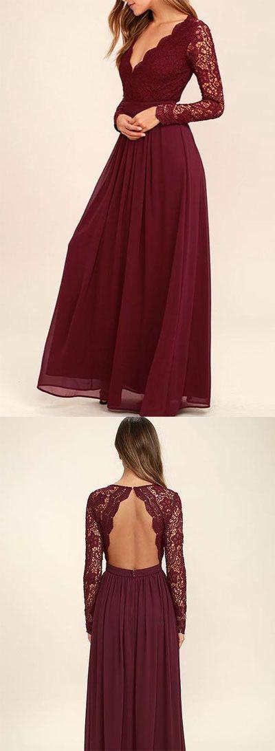 V-neck Long Sleevs Dark Burgundy Lace Chiffon Prom Dress Evening Dress PG409、Evening Dress,Prom Gowns,Party Dress,Bridesmaid Dress
