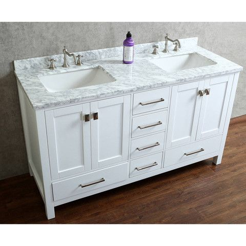 Vincent 60 solid wood double bathroom vanity drawer - 60 inch unfinished bathroom vanity ...