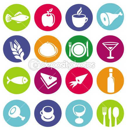 Vector set of restaurant pictogrammen en voedsel — Stockillustratie #14696299