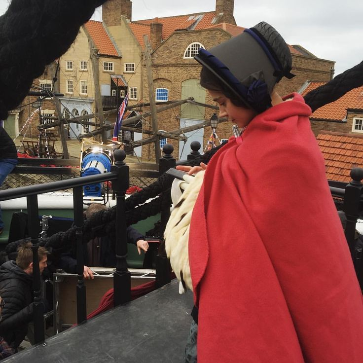 Jenna filming Victoria S2 on board HMS Trincomalee in Hartlepool, England, February 16, 2017.