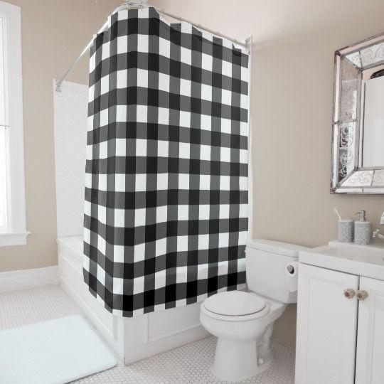 Black Buffalo Check Shower Curtain White Shower Curtain
