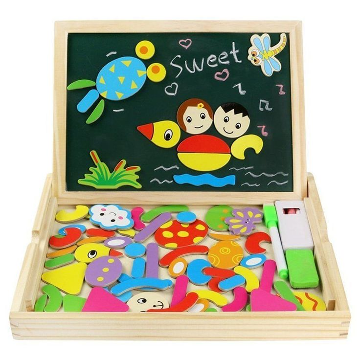 Magnetic Drawing Board Game Double Sided Blackboard Wood Girls Boys Kids Toddler