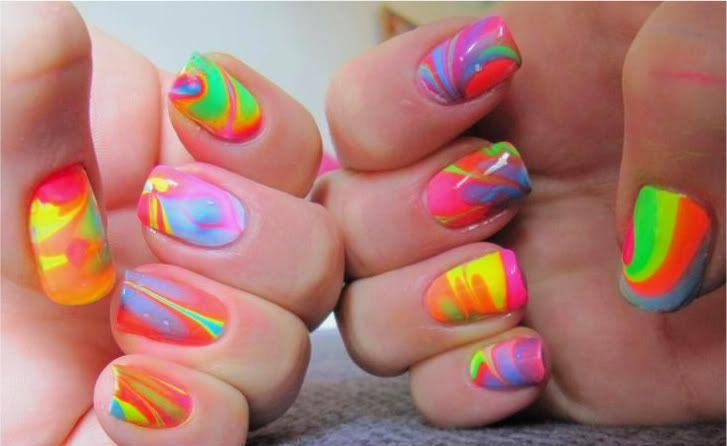 marble nail designNails Art, Nails Design, Marble Nails, Colors Nails, Ties Dyes, Nails Polish, Neon Nails, Water Marbles, Marbles Nails