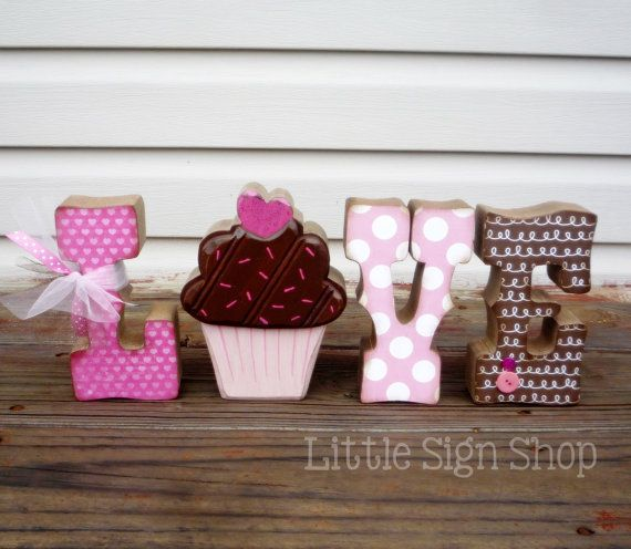 Shabby Chic Chocolate Cupcake LOVE Letter Set by craftjunkie28, $25.00