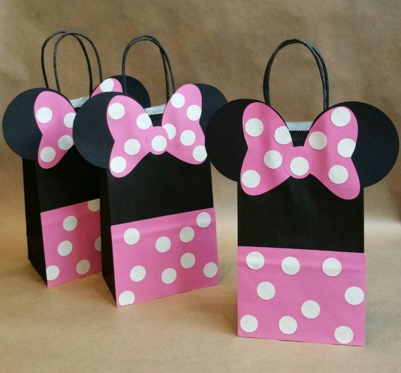Minnie Mouse inspired favor bagsset of 12 pink by FifteenSixteen