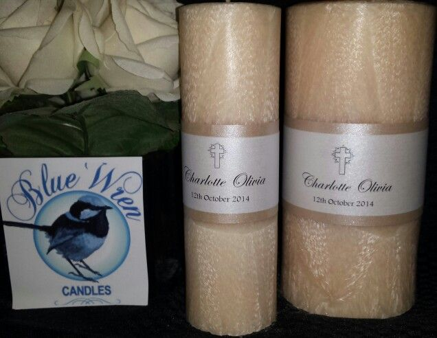 Beautiful Christening Candles I x large and 1 x small (for Godparents) $60