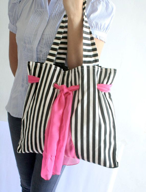 Canvas Tote Bag Nautical Stripe Black and Hot Pink by Oyeta, $33.00