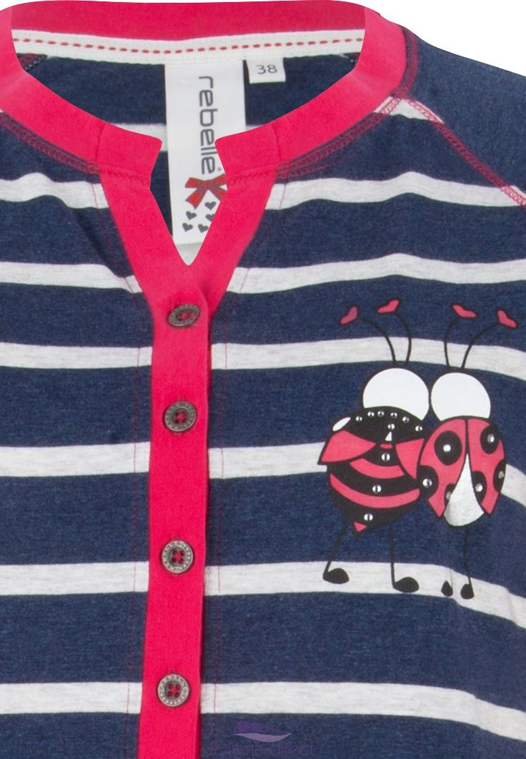 "Feel young & cute with Rebelle in this  ""best ladybird friends"" red, white and blue stripey nightdress with buttons"