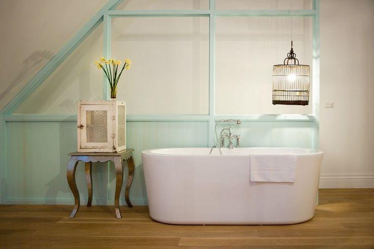 Vintage style and cool mint hues. #bathroom #vintage #style