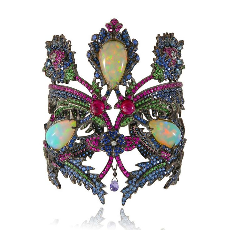 GABRIELLE'S AMAZING FANTASY CLOSET | Lydia Courteille Topkapi Welo Opal Floral Cuff with Rubies, Sapphires, Tsavorites and Spinel mounted in Blackened Gold