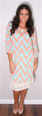 Cute, trendy and modest! Can't beat that! Mint and Peach Chevron Print Dress