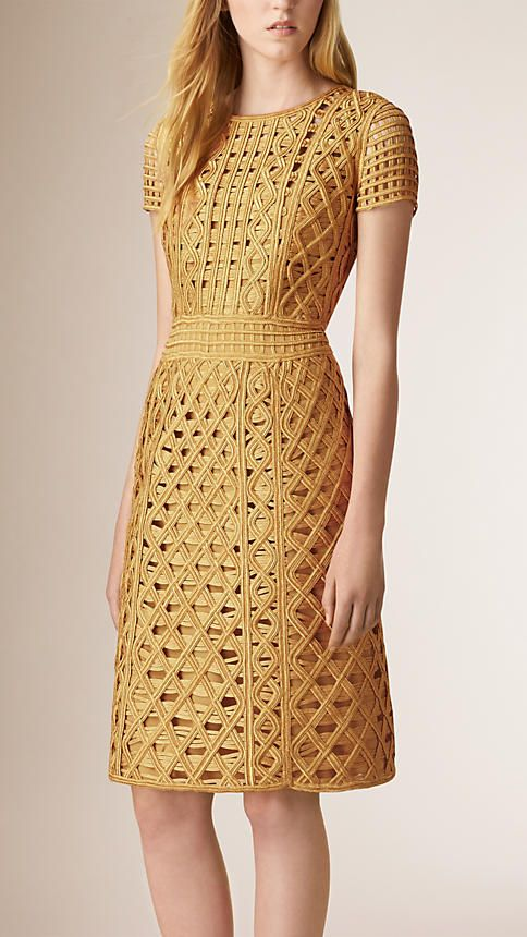 Gold Macramé Tape Shift Dress - Burberry