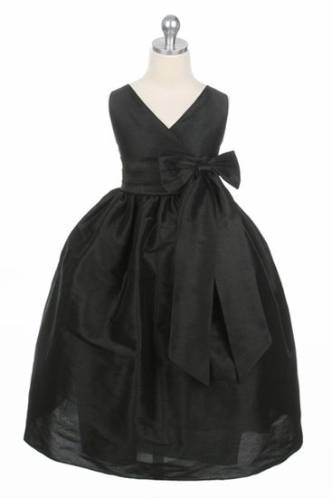 Black Flower Girl Dress - Cross Polysilk Dress