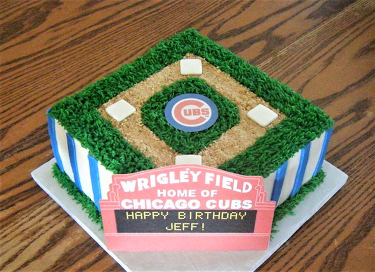 Chicago Cubs, Wrigley Field birthday cake. Sweetly Stacked.