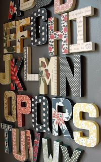 use scrapbook paper for alphabet wall art Get your wooden letters at www.funkyletterboutique.com