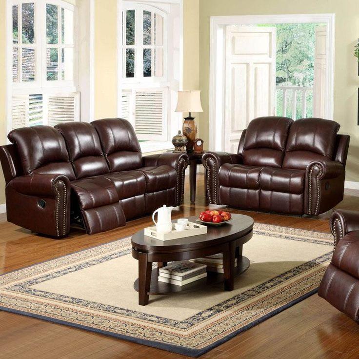 Sedona Reclining Italian Leather Sofa and Loveseat Set in Two Tone Burgundy | Wayfair