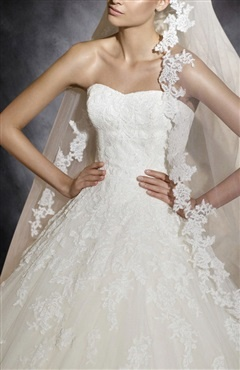 Applique Gentle Sweetheart Tulle A-line Wedding Dress