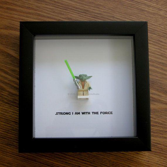 Star Wars Framed Art - Master Yoda - LEGO Christmas - LEGO Minifigure Display - Wedding Gift - Wall Decor - Picture Frames Displays