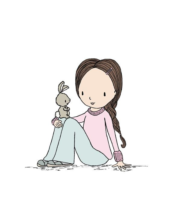 Girl Nursery Art -  Girl Meets Bunny -  by Sweet Melody Designs