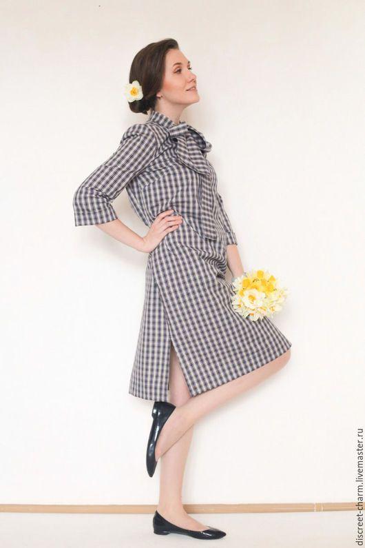 Платья ручной работы. Ярмарка Мастеров - ручная работа. Купить Летнее платье в клетку, с рукавом, синее с белым и жёлтым, с бантом. Handmade.