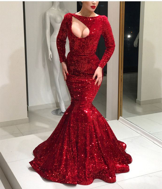 Long Sleeves Red Sequin Mermaid Prom Dress, shining evening in 2019 ... 358ef70f6559
