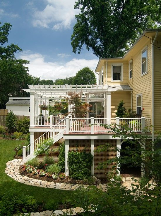 Traditional Porch Decks With Lattice Ideas Big Vintage House And Using