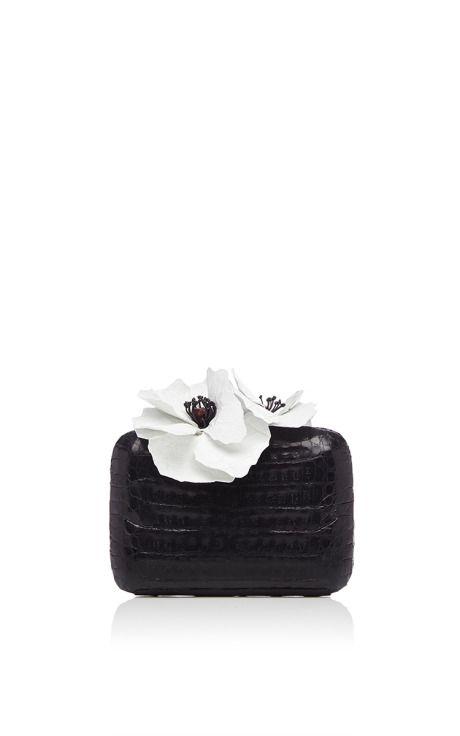 Black Crocodile Clutch With White Flower Embellishments by Nancy Gonzalez for Preorder on Moda Operandi