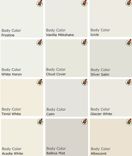 Recommended palette of white Benjamin Moore Paints