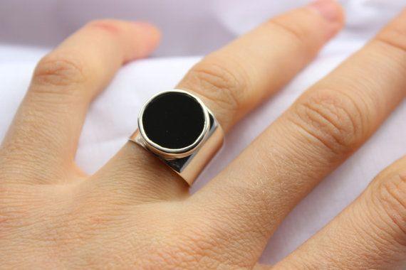 Anillo Geometrico con piedra Onix, de plata hecho a medida en tu tamaño, Anillo de Piedra redonda y negra
