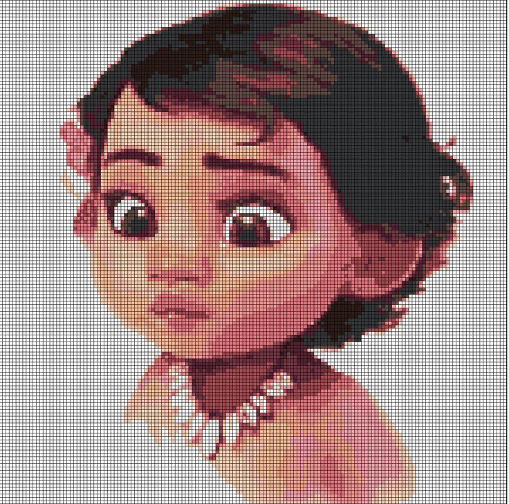 Little Moana Disney princess cross stitch pattern in pdf by Vandihand on Etsy