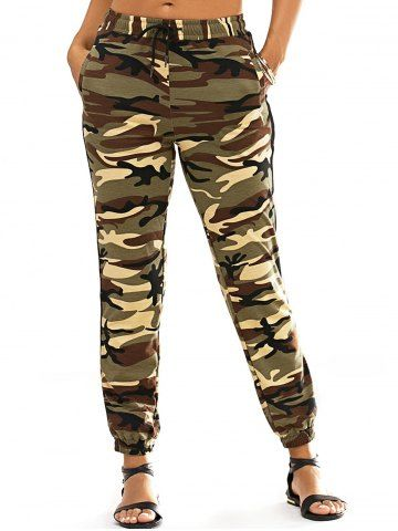 Fashionable Lace-Up Narrow Feet Camo Print Women's Pants