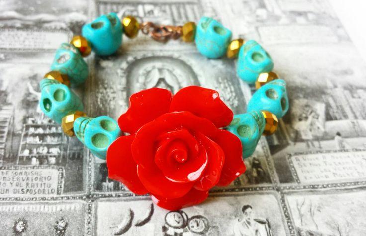 Mini Turquoise Sugar Skulls & Gold Bracelet with Large Red Rose Centerpiece - sugar skull jewelry, sugar skulls, red roses, day of the dead by SugarSkullsJewelry on Etsy