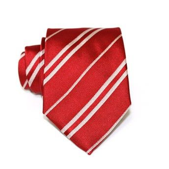 Jacquard tie, 100% silk, red with single and double oblique white stripes. Ideal for less formal occasions but also special occasions. Pattern and color of this elegant tie can fit with any outfit.