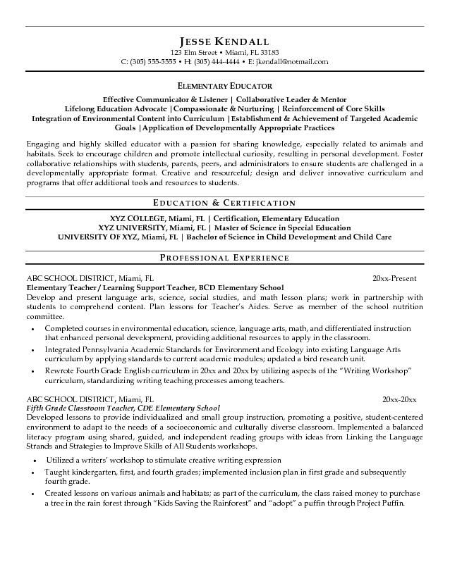 Teacher Resume Examples Elementary School  Template